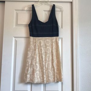Lace and denim dress